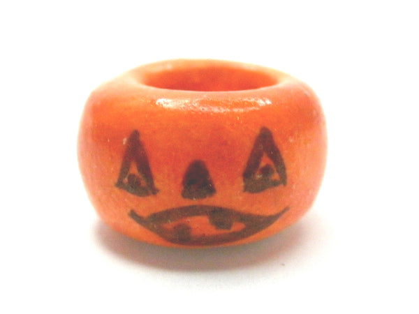 Miniature Ceramic Halloween orange dish with Jack O Lantern design