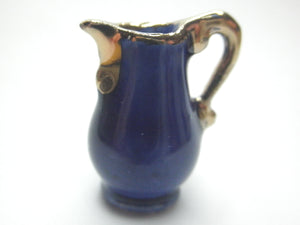 Miniature delicate pitcher cobalt blue and gold