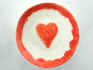 Miniature ceramic plate red heart