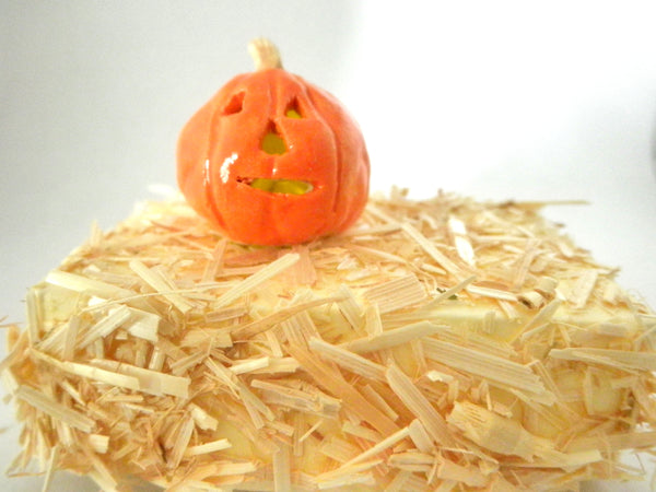 Miniature Halloween carved Pumpkin lit on a bail of hay
