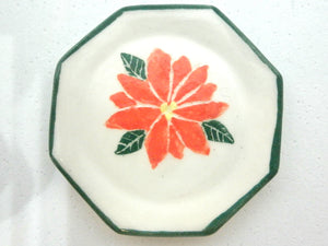 Miniature Christmas dish octogonal with Poinsettia