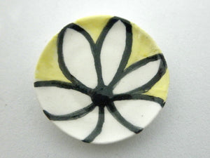 Miniature ceramic plate - modern daisy on yellow