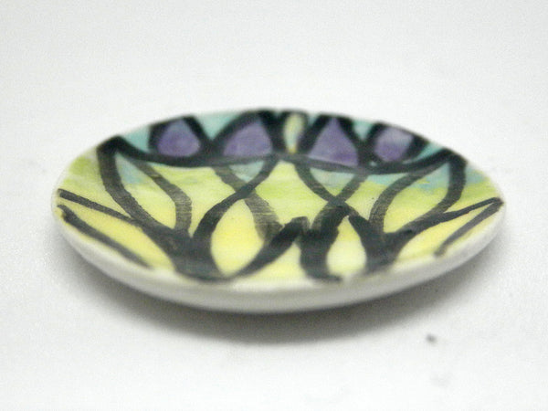 Miniature ceramic plate - stained glass look