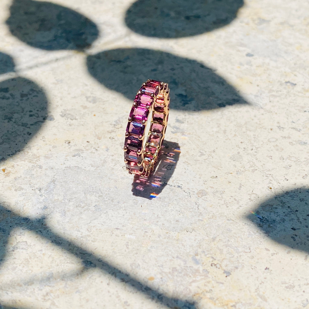Eternity Band Ring in Tourmaline and Rose Gold
