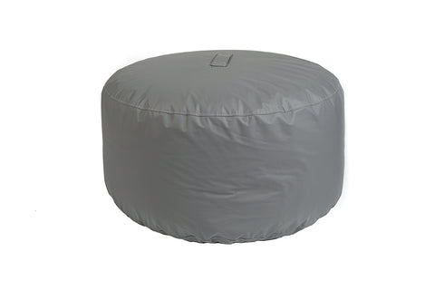 Sensational Oversized Round Tech Leather Bean Bag Ottoman Slate Gray Bralicious Painted Fabric Chair Ideas Braliciousco