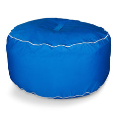 Round Ottoman Sunbrella Canvas Pacific Blue/Canvas Natural Trim