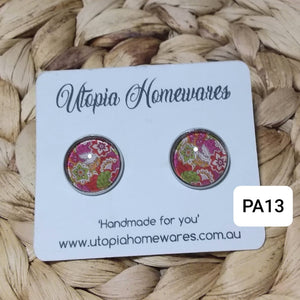 Cabochon Earrings - Paisley prints theme