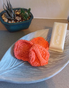 Hand knitted cotton face scrubbie