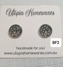 Load image into Gallery viewer, Cabochon Earrings - Black Floral theme