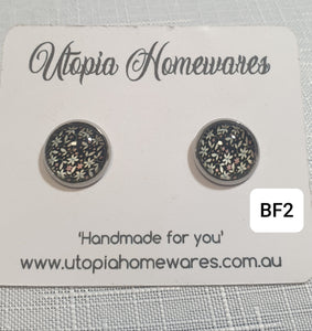 Cabochon Earrings - Black Floral theme