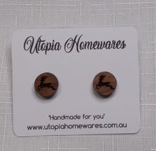Load image into Gallery viewer, Wooden cabochon stud earrings - Christmas