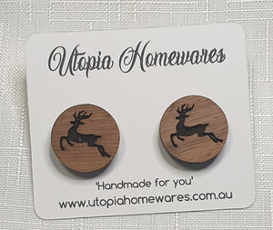 Wooden cabochon stud earrings - Christmas