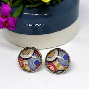 Cabochon Earrings - Japanese theme