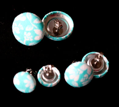 Handmade Fabric Button Earrings