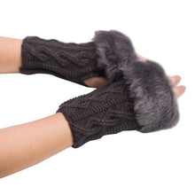Load image into Gallery viewer, Women's Faux Rabbit Fur Knitted Fingerless Mittens
