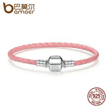 Load image into Gallery viewer, 925 Sterling Silver Genuine Leather Snake Chain Bracelets for Women