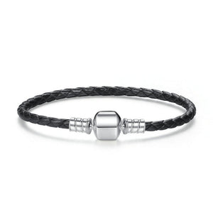 925 Sterling Silver Genuine Leather Snake Chain Bracelets for Women