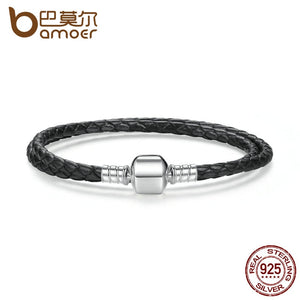 925 Sterling Silver Black Snake Chain Adjustable Bracelet for Women