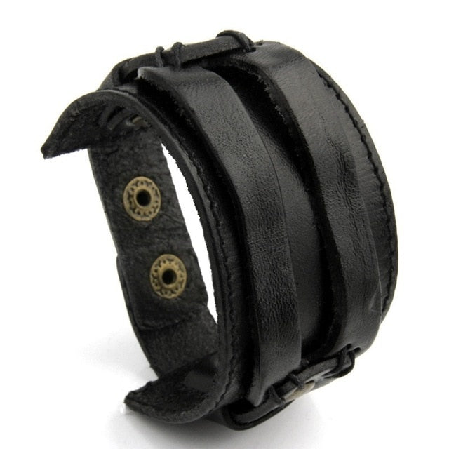 Leather Cuff Double Wide Bracelet for Men & Women (Adjustable Band)