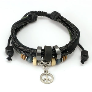Wrap Black Leather Braided Bracelet With Leaf Charms