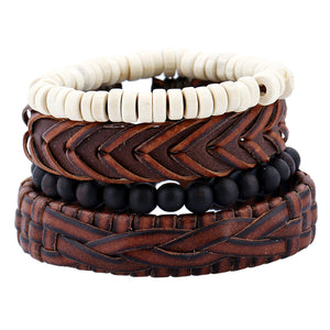 Leather Bracelets for Men Women Cuff Wrap Wristbands Braid