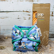 Baby to Toddler Gift Set - Popper Nappy Blue Puffin, Apron Hooded Towel Peach Fizz