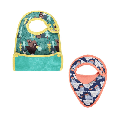 Newborn & Bib Gift Set - Bib Stage 1 Walrus, Bib Stage 2 Bear