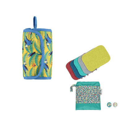Reusable Change Bundle - Change & Go Mat Parrot, Baby Wipes Brights