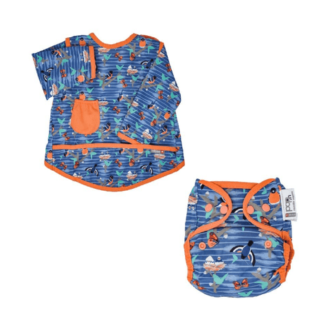 Toddler Cloth Gift Set - Bib Stage 3 Twilight Garden, Popper Nappy Twilight Garden