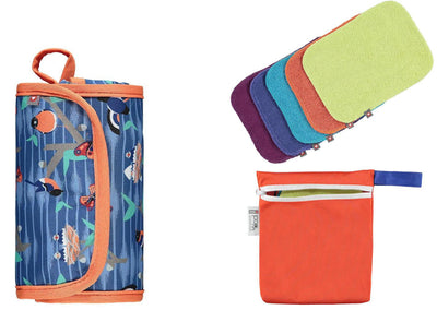Reusable Change Bundle - Change & Go Mat Twilight Garden, Baby Wipes Brights