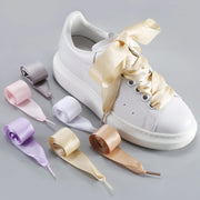 Women Girls Fashion Silk Satin Ribbon Shoelaces for Boots Sneakers Addidas Converse Nike Puma 1 Pair 19 color options