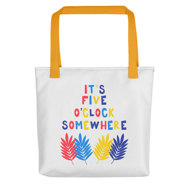 Its 5 oclock Somewhere Tiki Bar Tote Bag Black,Yellow,Red from %store_name% at 28.00 USD
