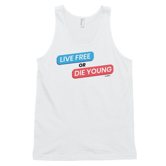 Live Free Or Die Young Classic Tank Top (Unisex) White,XS,White,S,White,M,White,L,White,XL,Heather Grey,XS,Heather Grey,S,Heather Grey,M,Heather Grey,L,Heather Grey,XL from %store_name% at 24.95 USD