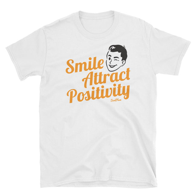 Smile, Attract Positivity Unisex Softstyle T-Shirt White,S,White,M,White,L,White,XL,White,2XL,White,3XL,Sport Grey,S,Sport Grey,M,Sport Grey,L,Sport Grey,XL,Sport Grey,2XL,Sport Grey,3XL from %store_name% at 24.00 USD