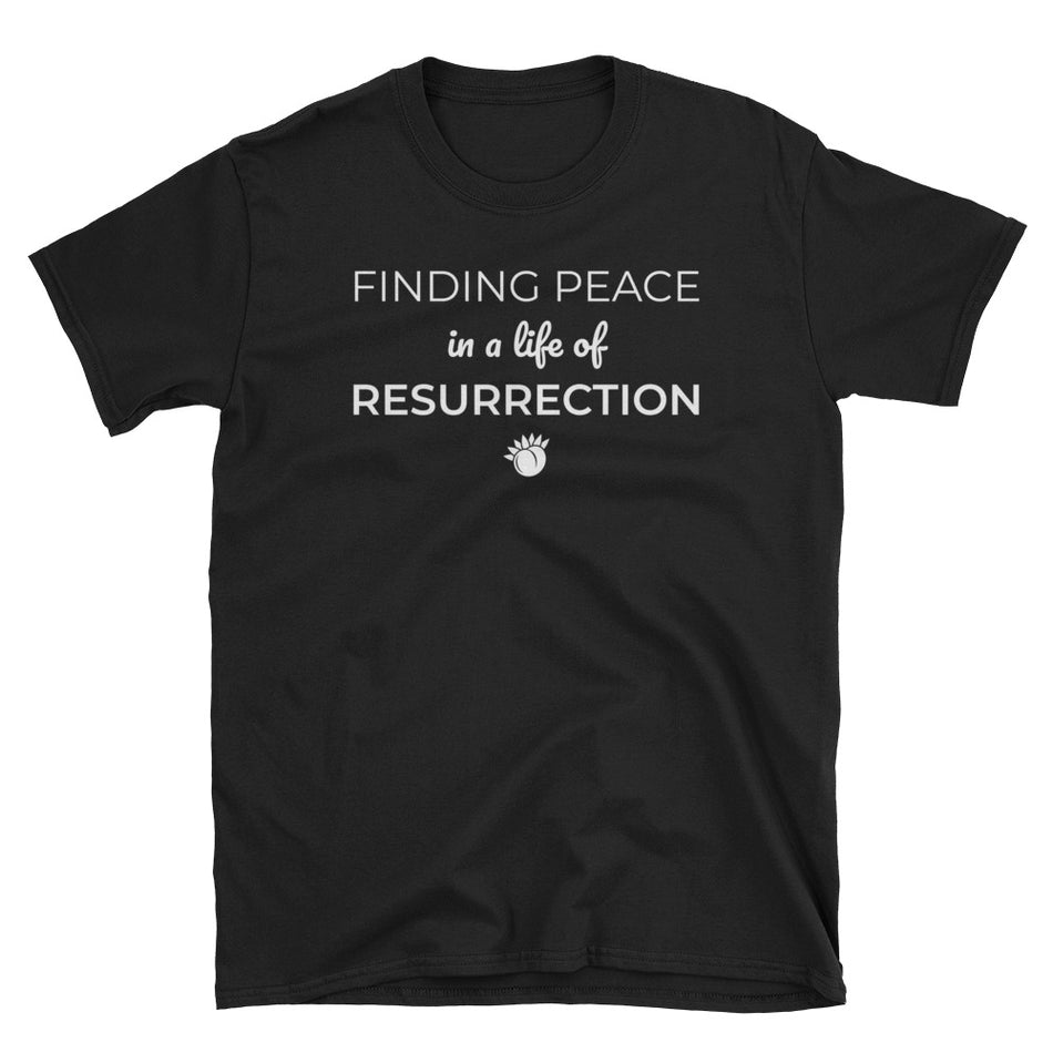Finding Peace In A Life Of Resurrection Unisex Softstyle T-Shirt Black,S,Black,M,Black,L,Black,XL,Black,2XL,Black,3XL,Navy,S,Navy,M,Navy,L,Navy,XL,Navy,2XL,Navy,3XL from %store_name% at 24.00 USD