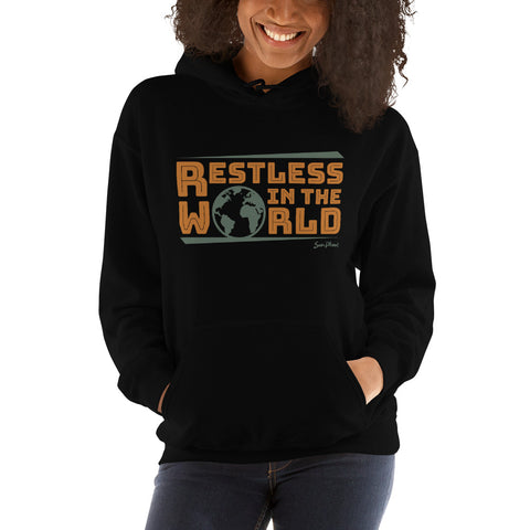 Restless In the World Unisex Hooded Sweatshirt Black,S,Black,M,Black,L,Black,XL,Black,2XL,Black,3XL,Black,4XL,Black,5XL,Navy,S,Navy,M,Navy,L,Navy,XL,Navy,2XL,Navy,3XL,Navy,4XL,Navy,5XL from %store_name% at 36.95 USD