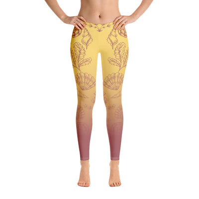Beach Bum Sea Shells Gypsy Comfortable Printed Leggings XS,S,M,L,XL from %store_name% at 49.30 USD