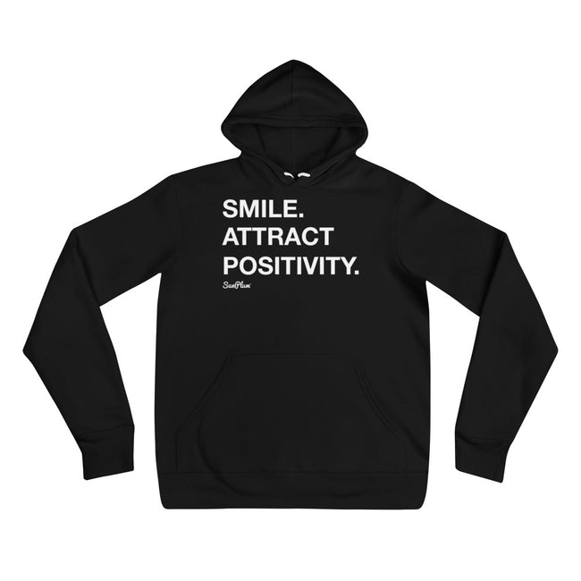 Smile, Attract Positivity Unisex Hoodie Black,S,Black,M,Black,L,Black,XL,Black,2XL,Deep Heather,S,Deep Heather,M,Deep Heather,L,Deep Heather,XL,Deep Heather,2XL from %store_name% at 39.99 USD