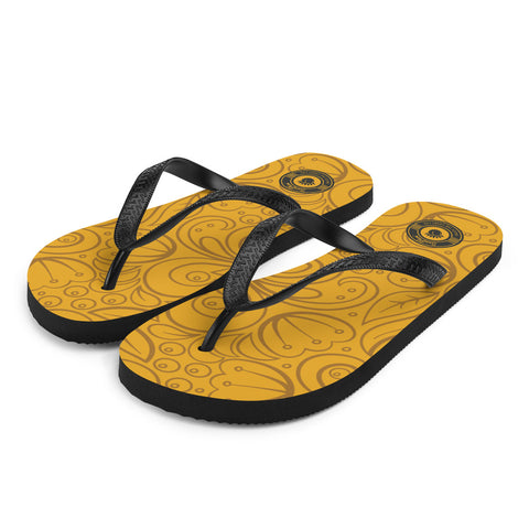 Island Beach Yellow Gold Multi-colored Flip-Flops S,M,L from %store_name% at 18.95 USD