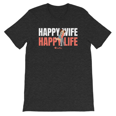 Happy Wife Happy Life Short-Sleeve Unisex T-Shirt Black,S,Black,M,Black,L,Black,XL,Black,2XL,Black,3XL,Black Heather,S,Black Heather,M,Black Heather,L,Black Heather,XL,Black Heather,2XL,Black Heather,3XL,Heather Forest,S,Heather Forest,M,Heather Forest,L,Heather Forest,XL,Heather Forest,2XL,Heather Forest,3XL,Heather Midnight Navy,S,Heather Midnight Navy,M,Heather Midnight Navy,L,Heather Midnight Navy,XL,Heather Midnight Navy,2XL,Heather Midnight Navy,3XL,Dark Grey Heather,S,Dark Grey Heather,M,Dark Grey He