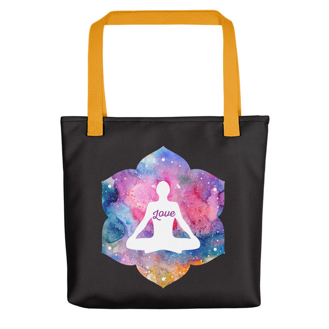 Zen Love One With the Universe Tote Bag Black,Yellow from %store_name% at 28.00 USD