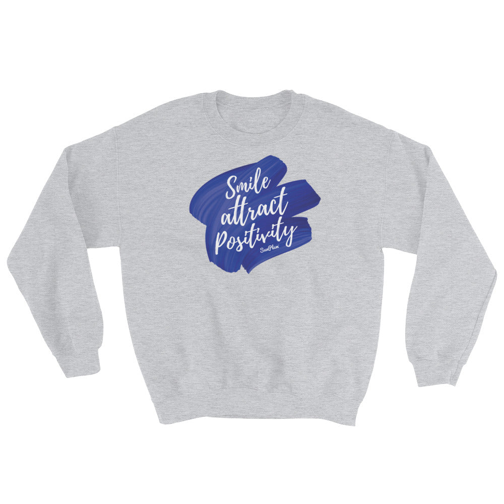 Smile, Attract Positivity Sweatshirt White,S,White,M,White,L,White,XL,White,2XL,White,3XL,White,4XL,White,5XL,Black,S,Black,M,Black,L,Black,XL,Black,2XL,Black,3XL,Black,4XL,Black,5XL,Navy,S,Navy,M,Navy,L,Navy,XL,Navy,2XL,Navy,3XL,Navy,4XL,Navy,5XL,Sport Grey,S,Sport Grey,M,Sport Grey,L,Sport Grey,XL,Sport Grey,2XL,Sport Grey,3XL,Sport Grey,4XL,Sport Grey,5XL from %store_name% at 34.99 USD