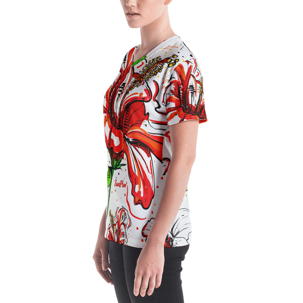 Jamaican Red Hibiscus Womens V-neck XS,S,M,L,XL,2XL from %store_name% at 46.95 USD