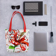 Jamaican Red Hibiscus Tote bag Black,Red from %store_name% at 28.00 USD