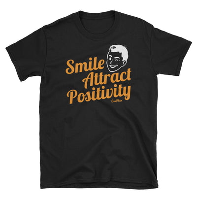 Smile, Attract Positivity Unisex Softstyle T-Shirt Black,S,Black,M,Black,L,Black,XL,Black,2XL,Black,3XL,Navy,S,Navy,M,Navy,L,Navy,XL,Navy,2XL,Navy,3XL from %store_name% at 24.00 USD