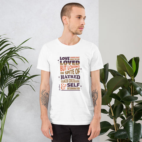 Loves Comes Easy Short-Sleeve Unisex T-Shirt White,XS,White,S,White,M,White,L,White,XL,White,2XL,White,3XL,Athletic Heather,S,Athletic Heather,M,Athletic Heather,L,Athletic Heather,XL,Athletic Heather,2XL,Athletic Heather,3XL,Silver,S,Silver,M,Silver,L,Silver,XL,Silver,2XL,Soft Cream,S,Soft Cream,M,Soft Cream,L,Soft Cream,XL,Soft Cream,2XL,Soft Cream,3XL,Heather Prism Dusty Blue,XS,Heather Prism Dusty Blue,S,Heather Prism Dusty Blue,M,Heather Prism Dusty Blue,L,Heather Prism Dusty Blue,XL,Heather Prism Dust