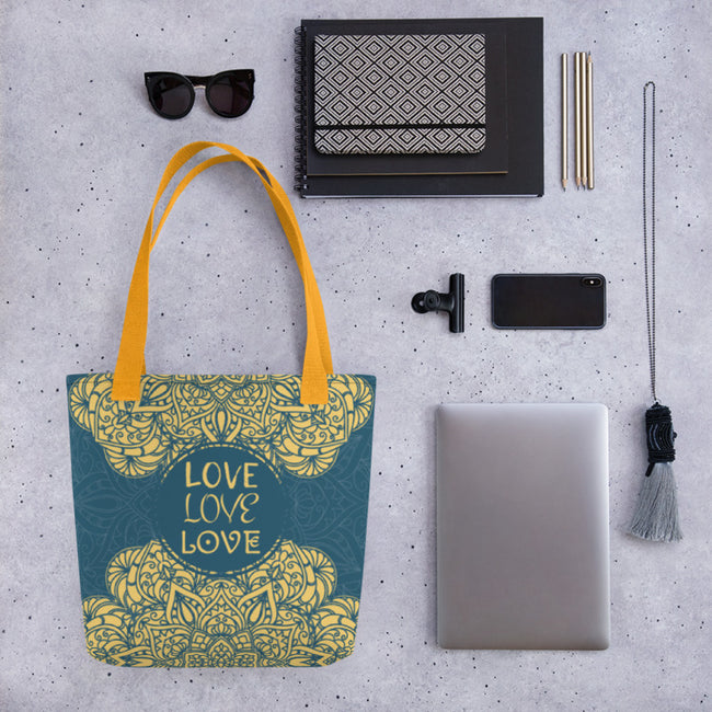 Zen Love Transcends Tote Bag Black,Yellow from %store_name% at 28.00 USD