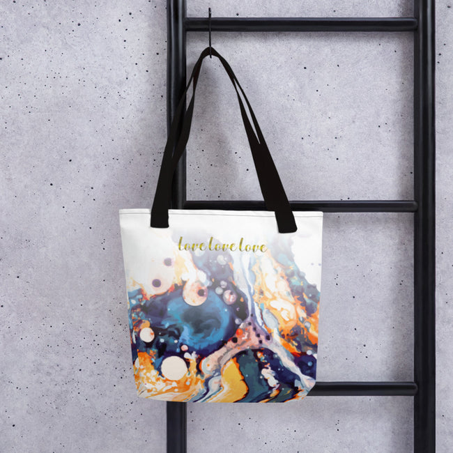 Zen Love Rise and Shine Tote Bag Black,Yellow from %store_name% at 28.00 USD