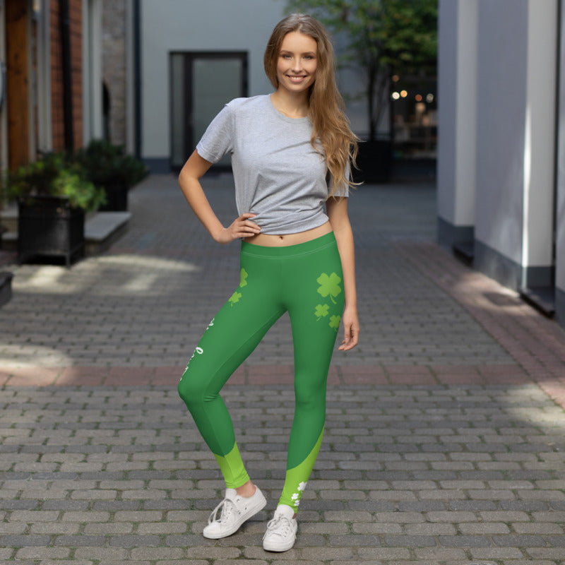 Lucky One Feeling Lucky Green Flush Comfortable Printed Leggings XS,S,M,L,XL from %store_name% at 49.95 USD