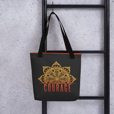 Zen Courage Rebirth Tote Bag Black,Yellow from %store_name% at 28.00 USD